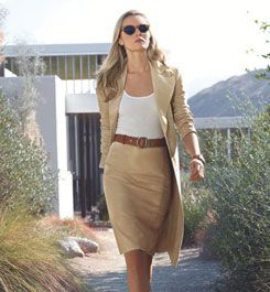 .classic camel and white with a leather belt.