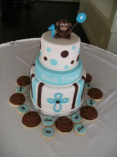 Monkey Baptism/Birthday Cake by irresistibledesserts, via Flickr