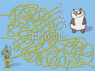 Fototapeta Panda labirynt gra ... rozwiązanie: B