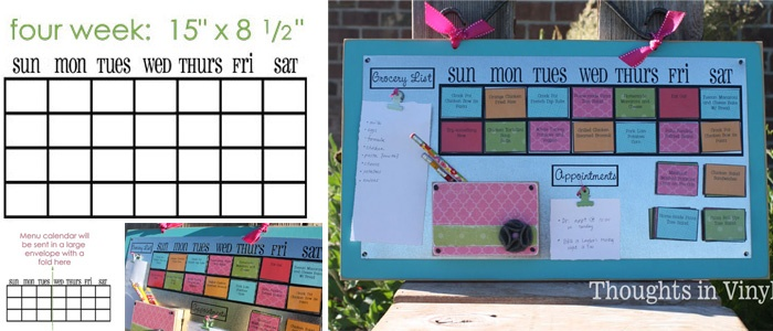 """Smart to laminate printed """"meal cards"""", add a magnet and hang-on fridge."""