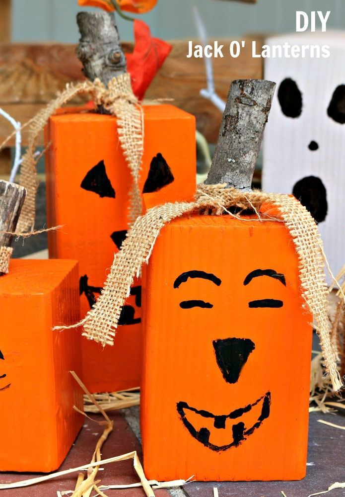 Turn Blocks into Tiny Jack O' Lanterns