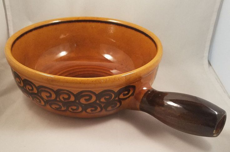 Lander Pottery Jumbo Large Brown Ceramic Serving Bowl Crock w/ Handle VTG #Retro #Lander #midcentury