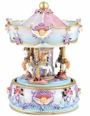 Musical Carousel Lilac with Angels 17cm Plays Mozarts Serenade #13