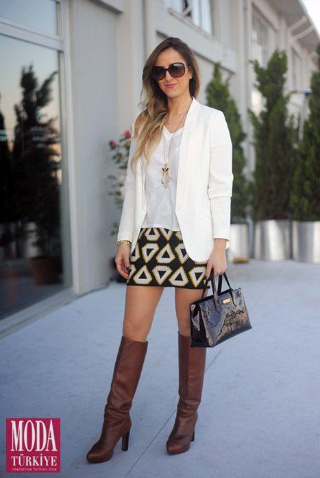 Sokak Modası - Serenat Kolcu | Ceket: H&M Etek: H&M Tshirt: Harvey Nichols Çizme: Zara Çanta: Louis Vuitton Gözlük: Prada
