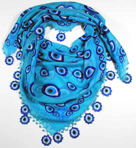 nazar evil eye scarf with crocheted border