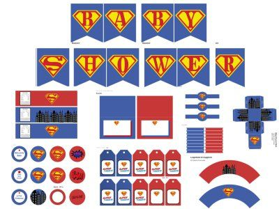 Superman Baby Shower Package Superhero Baby Shower Theme Ideas #babyshower  #superhero