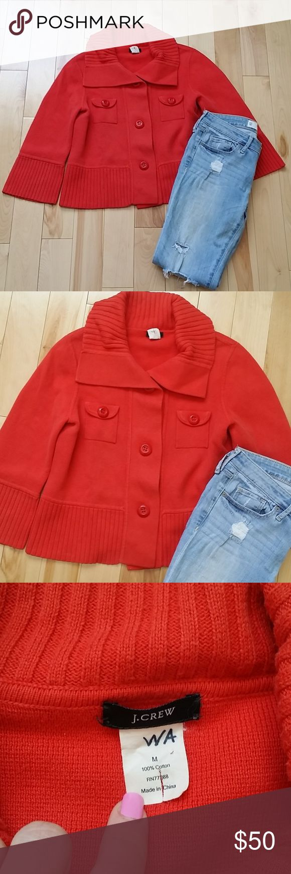 """J CREW ORANGE CARDIGAN WOMENS J Crew orange cardigan. Fits like a long crop top length. Jeans are Abercrombie & Fitch and can be included in your order.  Length 20"""" Material: 100% cotton. J. Crew Sweaters Cardigans"""