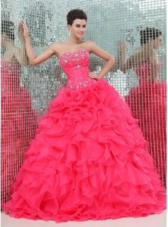 A-Line/Princess Sweetheart Floor-Length Organza Satin Quinceanera Dresses With Ruffle Beading (021017439)