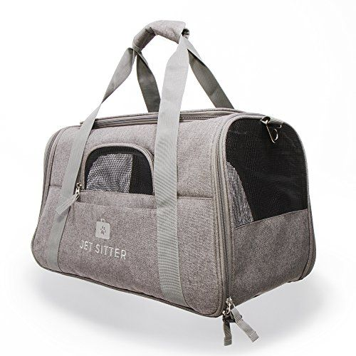 """Jet Sitter Super Fly Luxury Pet Carrier for your jet setting pet (Small Dogs or Cats up to 9 pounds) 18″L x 10 """"W x 10.5″H Fly Through Security and your Flight   Getting through TSA and boarding the plane with your precious pet companion has never been easier. Jet Sitter Super F..."""