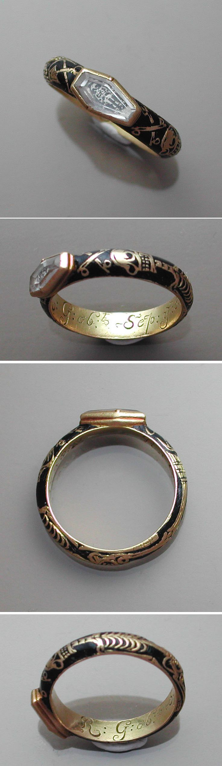This ring dates from 1728; the absolute height of the memento mori style. It not only features the affectation of the 'coffin' shaped crystal, but it encapsulates the skeleton inlaid in black enamel around the band. Further to this, the element of the full skeleton inside the coffin crystal completes the sentiment. There is nowhere on the jewel that death is not represented.