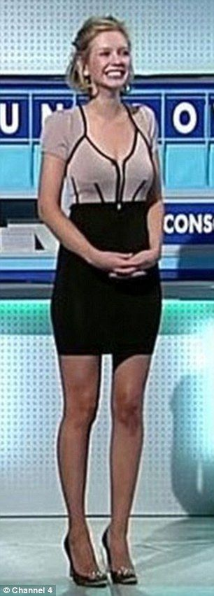Rachel Riley in a tight mini dress with a low-cut neckline. The only reason the watch Countdown!!