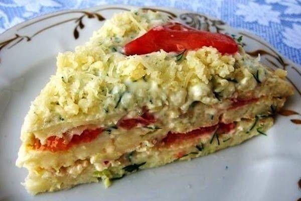 Кабачковый торт — рецепт с помидорами и сыром