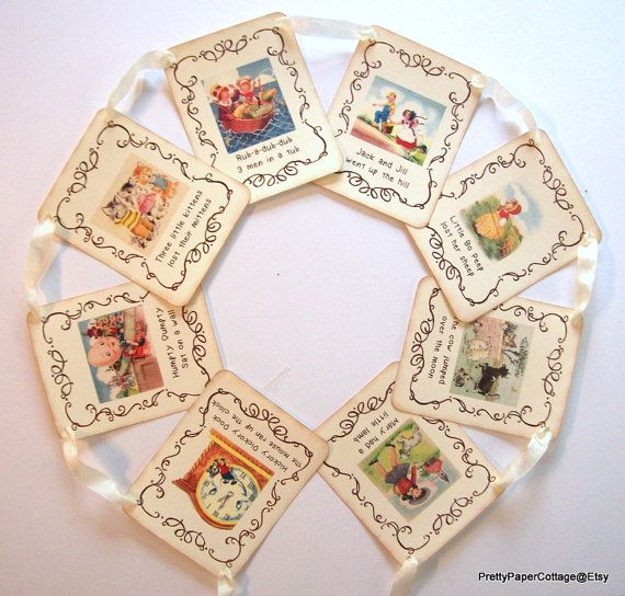 Nursery Rhyme Banner Vintage Inspired Baby by PrettyPaperCottage