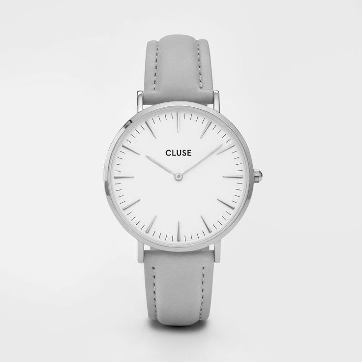 Cluse, La Bohème. Silver and White Face, Grey Leather Strap.