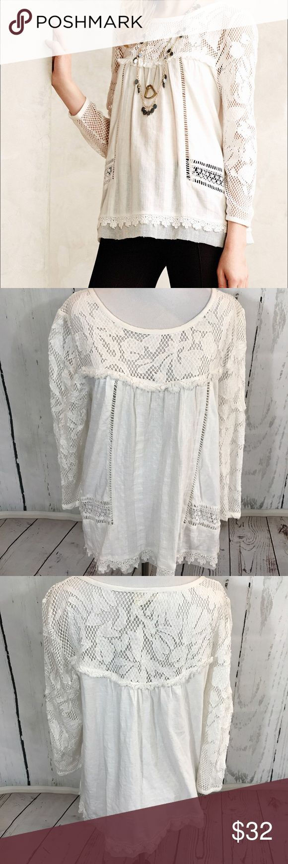 🎀 Anthropologie Meadow Rue Lace Shirt 🎀 Perfectly breezy and endlessly flattering, the peasant top is one of our perennial go-to pieces. We're pairing this lacy one from Meadow Rue with everything from distressed denim to maxi skirts. Anthropologie Skirts