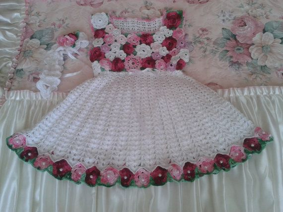 Crochet baby dress with crochet headband by BarbarasArtHand, zł300.00