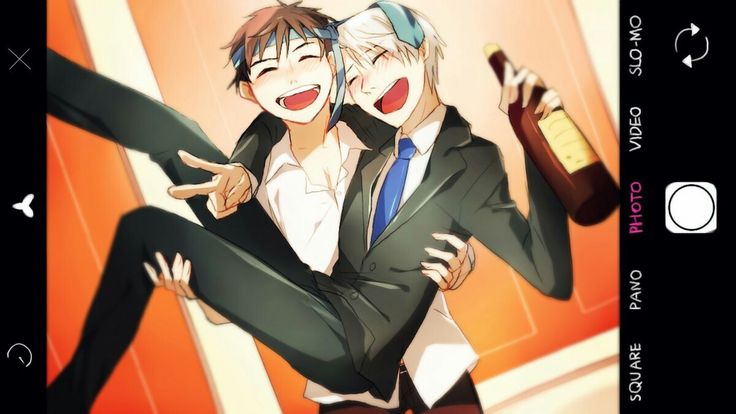 Victor, Yuuri, carrying, funny, peace sign, drunk, banquet, alcohol, wine, bottle, camera, cellphone, picture, photo; Yuri!!! on Ice