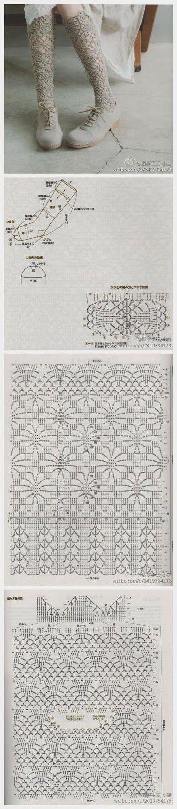 crochet socks / and many other beautiful patterns http://miimii-diy.blogspot.com/2013/12/magia-szydeka-inspiracje-i-wzory-dla.html