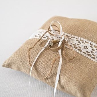 Perfect burlap and lace ring pillow by Made In Heaven for your wedding! :) Click on the picture to order it! :)