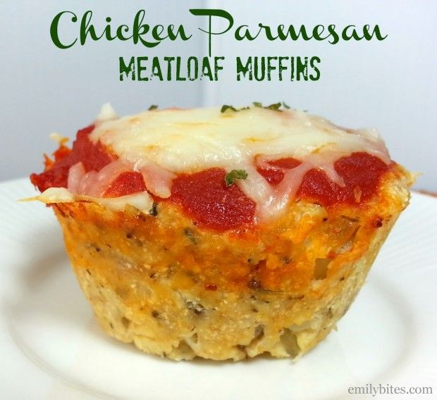 "These Chicken Parmesan Meatloaf ""Muffins"" combine two classic favorites for maximum flavor. Perfectly portioned and just 147 calories or 4 Weight Watchers SmartPoints each! www.emilybites.com"