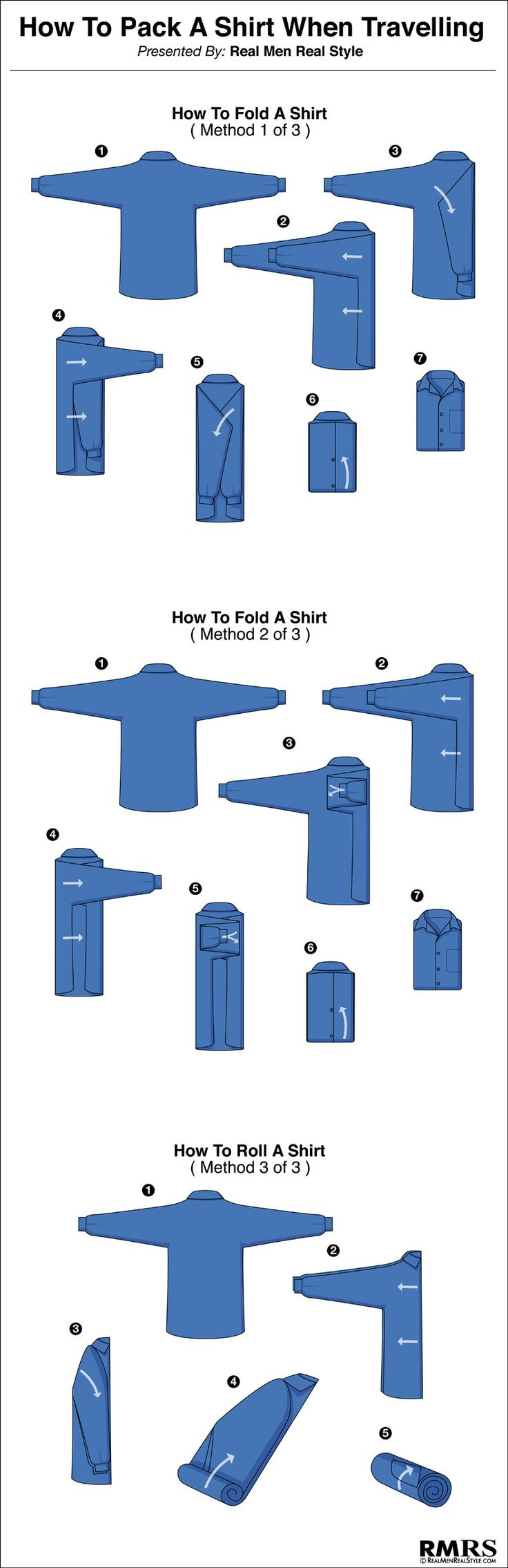 How To Fold A Men's Dress Shirt – Travel Tips For Folding Shirts (via…