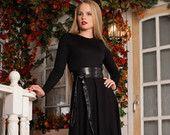 Черное платье Макси, Платье на Весну, Офисный стиль, Платье на Осень, Длинный рукав / Качественное дизайнерское платье, Зимнее платье.