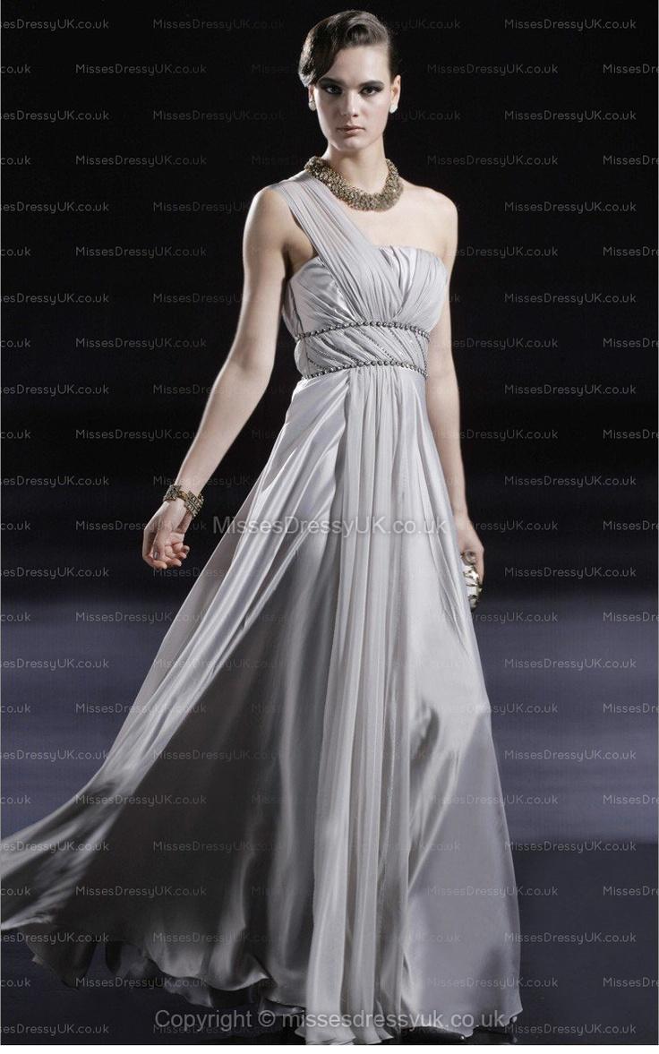 A-line One Shoulder Silk-like Satin Floor-length Silver Ruffles Evening Dress