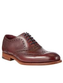 Barker Holborn Leather Brogue Oxford Shoes Cherry Calf