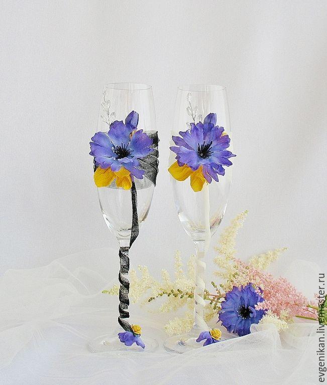 """Купить Свадебные бокалы """"Васильковые"""" - свадебные бокалы, бокалы свадебные, бокалы для свадьбы, бокалы для молодоженов"""
