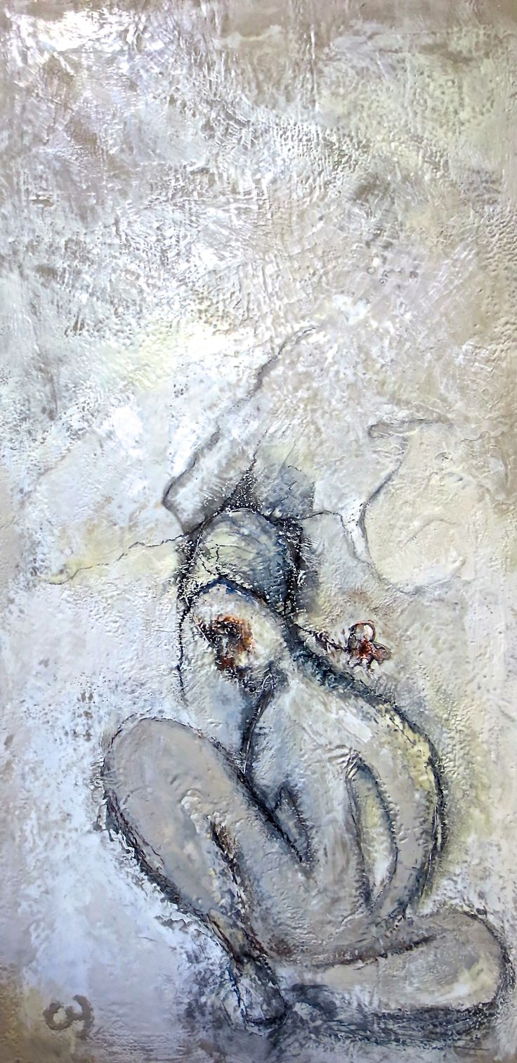 """""""Corps organique, un automate naturel"""" par Christyne Proulx ©2017 Encaustique sur bois /24X48pcs/ Encaustic/ figurative and contemporary art/ acrylique, art painting, Street Art (Urban Art), Canvas, Women, nu, abstrait, abstract, Tissu Portraits, femme, nu street art, patchwork, peinture, contemporain, abstrait, tableau street art"""