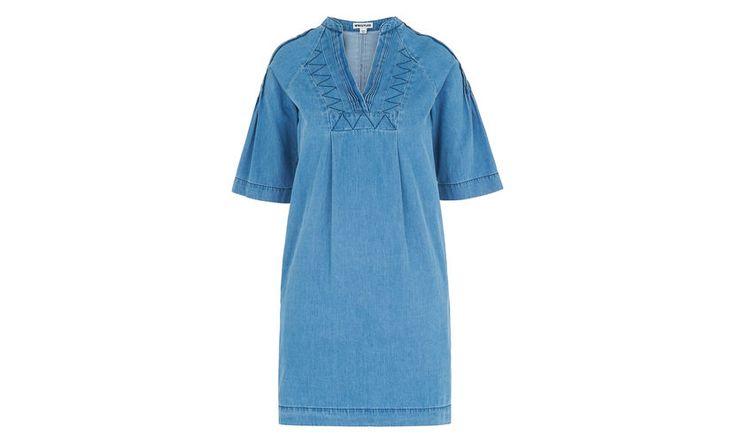 Denim Pintuck Detail Dress