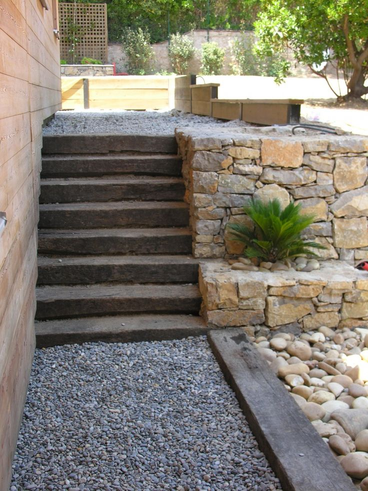Escalier jardin extérieur talu paysagiste natura paysages à arcs les