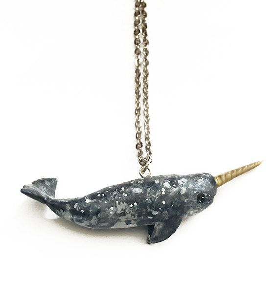 Handmade Narwhal Necklace polymer clay jewelry por JumpingJellys