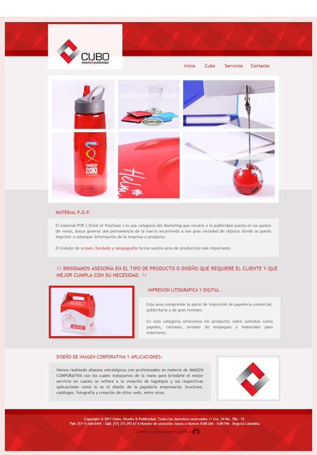 Diseño web, sesión interna, servicios, cubograf.  http://www.yuddyhernandez.com/portafolio/html/cubograf.html