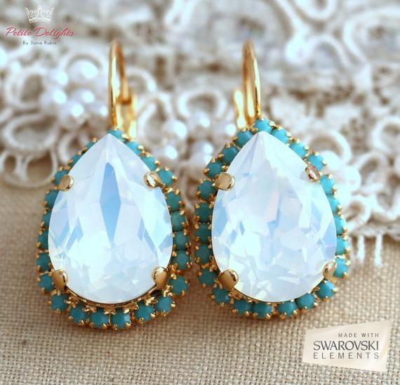 Braut Opal Ohrringe, Opal Crystal Swarovski Ohrringe, Braut Ohrringe, White Opal Braut Ohrringe, Gold Türkis Kristall Ohrringe