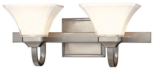 Minka Lavery 6812-84, Agilis Reversible Glass Wall Vanity Lighting, 2 Light, 200 Total Watts, Nickel