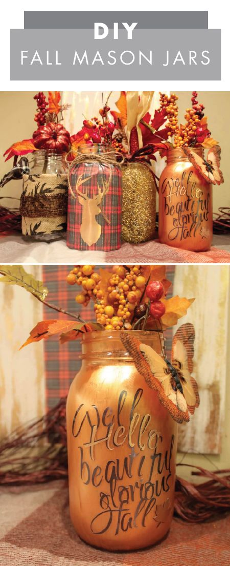 Whether you choose to display these DIY Fall Mason Jars in your dining room, living room, or even on your front porch or entryway—you can bet that they showcase your love of autumnal-themed decor. Check out the craft tutorial from Jo-Ann to see how easy they are to make!