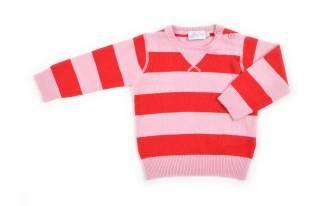 Sweater para bebe niña, con franjas rojas y rosadas.