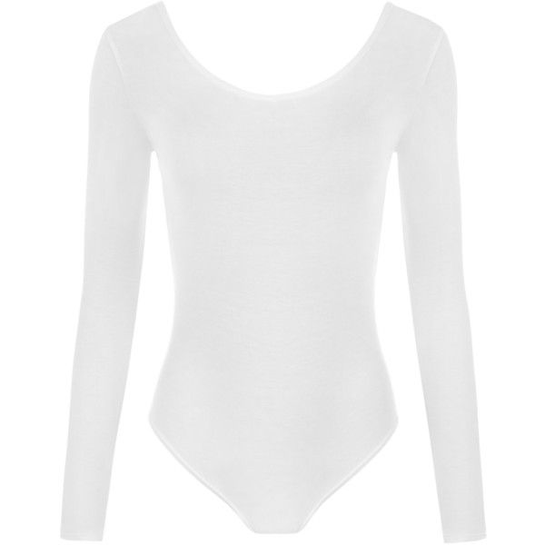 Annabelle Plain Long Sleeve Bodysuit (£8) ❤ liked on Polyvore featuring intimates, shapewear, bodysuits, tops and white