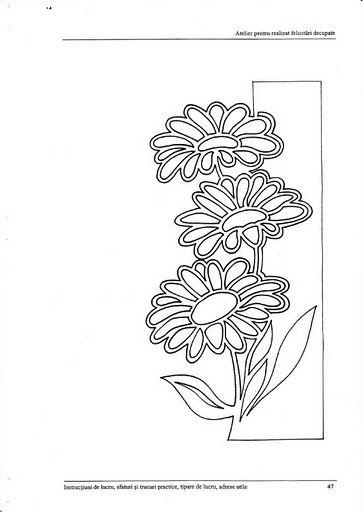Трафарет открытки к 8 марта с цветами