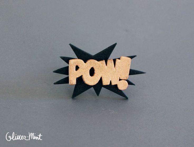 Glitter Mint: POW! BAM! Shrink Plastic Stacked Rings