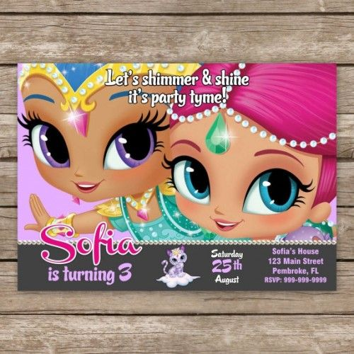 Shimmer and Shine Invitation, Shimmer and Shine Birthday Invites