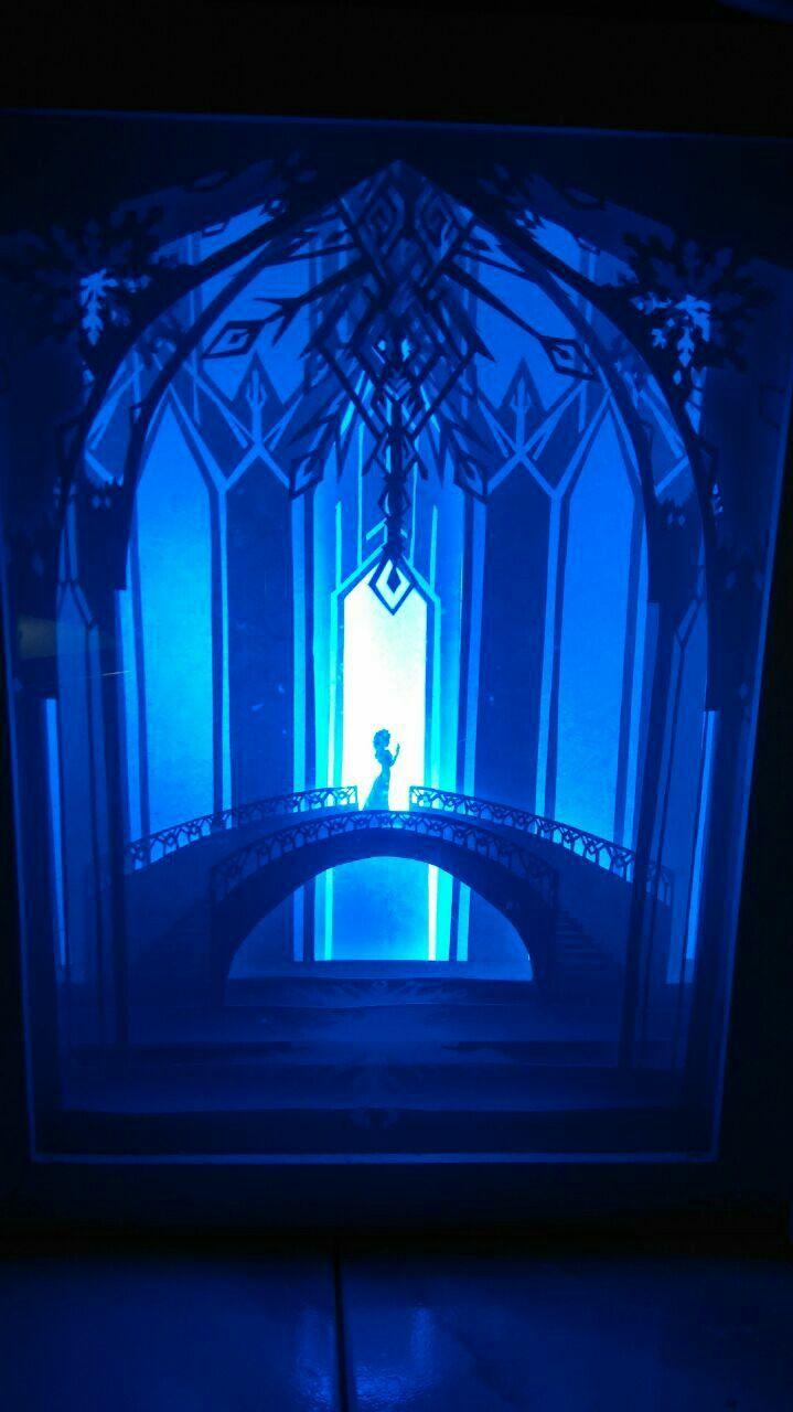 Elsa frozen shadowbox light  #frozen #shadowboxlight #papercut #paperart #handpapercut