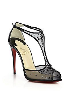 knock off red bottom shoes for women - Christian Louboutin - Patinana Swarovski Crystal Mesh T-Strap ...
