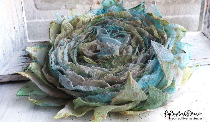 Купить Брошь цветок из ткани. Шебби шик, акварель в горошек - брошь цветок из ткани