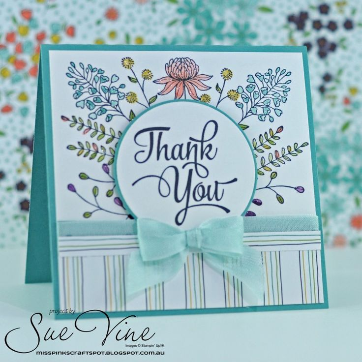 Thank you note card made with Flower Fields. I used the Stamp-a-ma-jig to place the flowers, and water coloured using Aqua Painters