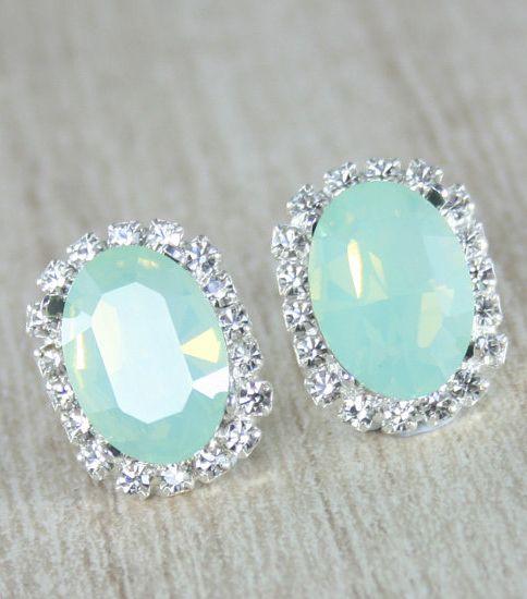 crystal earrings mint green crystal stud