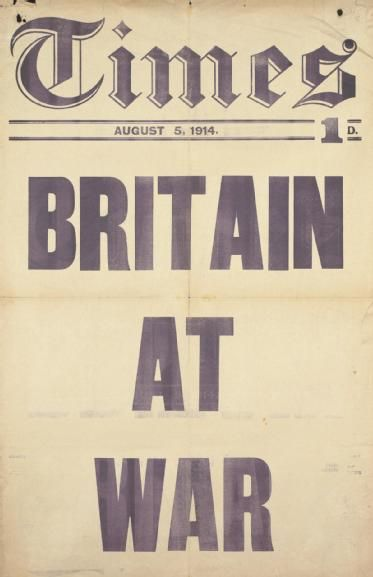 "Times Newspaper, ""Britain At War"", August 5, 1914. (Art.IWM PST 13006)"