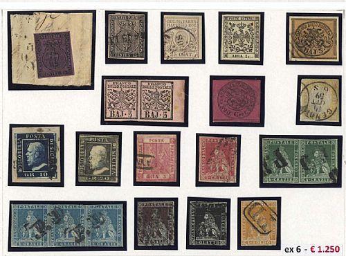 Antichi Stati - 40 franc. anche in coppia o striscia di qualità mista, da esaminare. Molti firmati e 5 certificati.