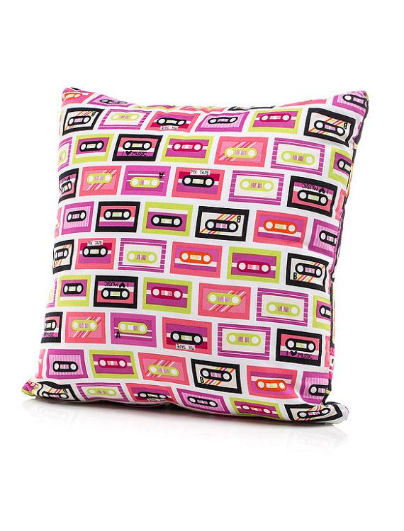 Throw Pillows For Twin Bed : Throw Pillow, Accent Pillow, Twin Pillow, Bed Pillow, Girl Pillow, Cassette Tapes, Retro, Music ...